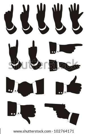 Different gestures of hands on a white background. EPS-10 (non transparent elements,no gradient). - stock vector