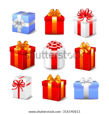 Different gift boxes photo realistic vector set - stock vector