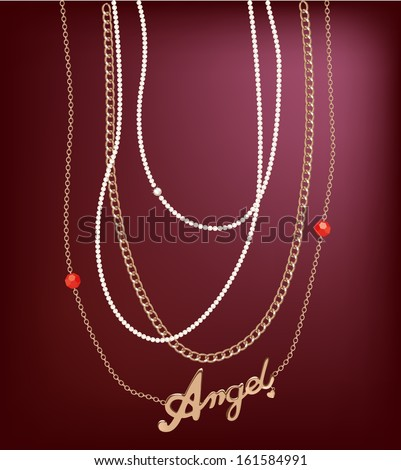 Different golden, silver necklace with golden angle pendant. - stock vector