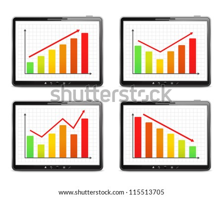 Different graphs on the screen of tablet computer, vector eps10 illustration - stock vector