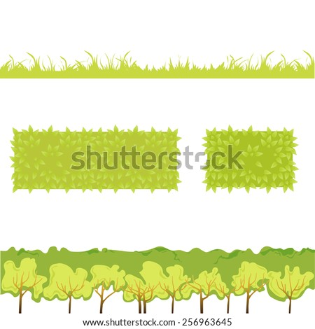 Different Green Grass with bushes. Isolated On White Background. Vector Illustration. Concept  design elements for garden. Spring Garden. Eps 8