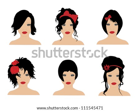 Different hairstyles - stock vector