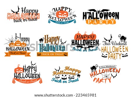 Different Halloween party designs for Happy Halloween parties decorated with bats, pumpkin lanterns, spiders, black cat, ghosts, ghouls with various texts, vector illustration on white - stock vector
