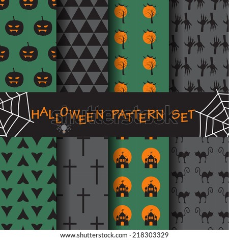 different halloween seamless patterns set. Endless texture can be used for wallpaper, pattern fills, web page,background,surface - stock vector