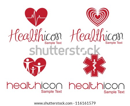 different Health icon over white background - stock vector