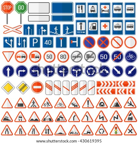 Different highly detailed and fully editable vector traffic road sign collection. Set of road sign collection warning, priority, prohibitory symbol. Road sign european and american style design vector - stock vector