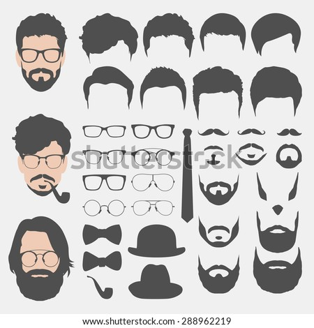 different hipster style haircuts, glasses, beard, mustache, bowtie and hats collection. man faces avatar creator. create your own hipster icons for social media or web site - stock vector