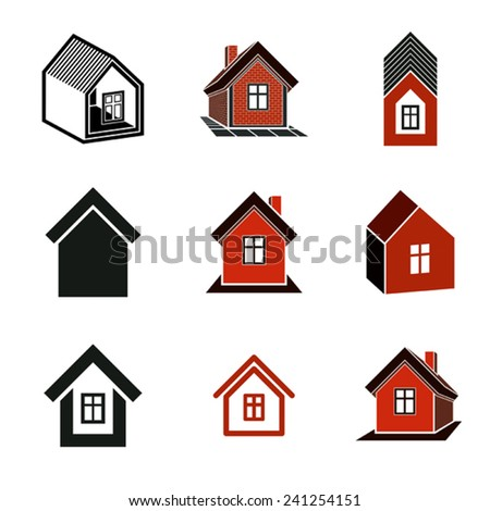 Different houses icons, set of mansion conceptual symbols, abstract property images. Real estate. - stock vector