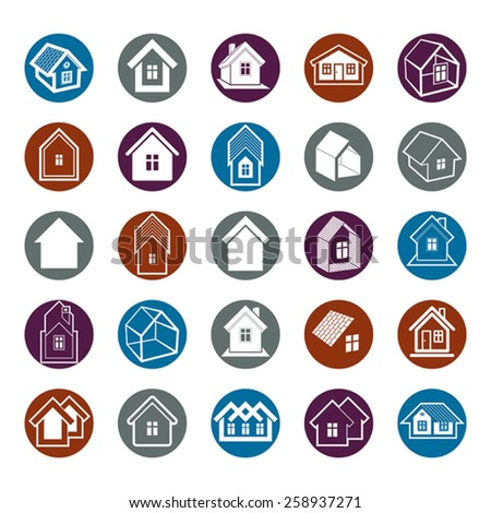 Different houses icons, set of mansion conceptual symbols, abstract property images. Real estate