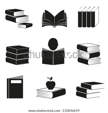 Different icons with books image of black color. EPS-10 (non transparent elements,non gradient) - stock vector