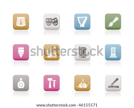 Different kind of art icons - vector icon set - stock vector