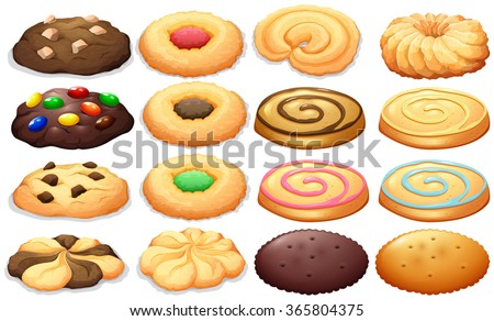 Different kind of cookies illustration - stock vector