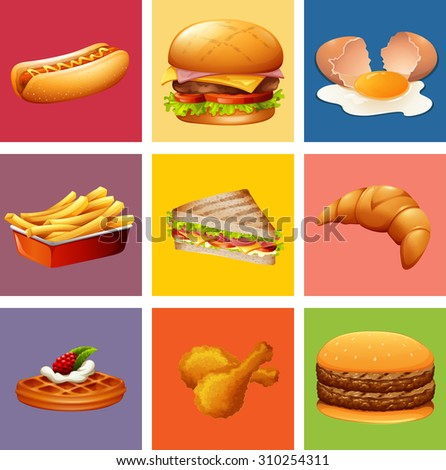 Different kind of food and dessert illustration - stock vector