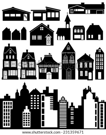 Different kind of house - stock vector