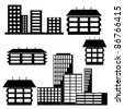 different kind of houses and buildings - Vector Illustration - stock vector