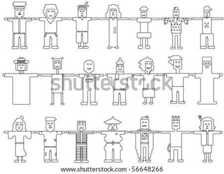 different kind of job people together - stock vector