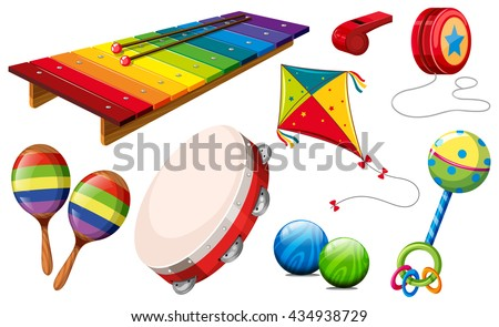 Different kind of musical instruments and toys illustration - stock vector