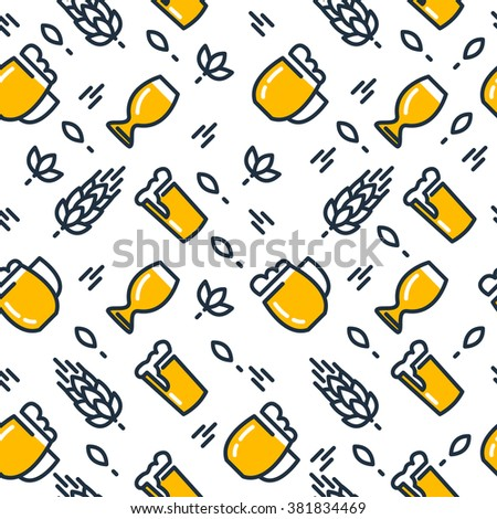Different kinds of beer glasses seamless pattern with pulled Beers. Vector Illustration, eps10, contains transparencies. - stock vector