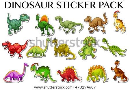 Different kinds dinosaurs sticker design illustration stock vector hd royalty free 470294687 shutterstock