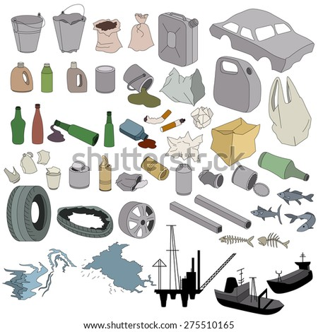Different kinds of garbage isolated on white - stock vector