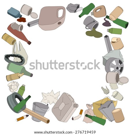 Different kinds of garbage. Square frame. - stock vector