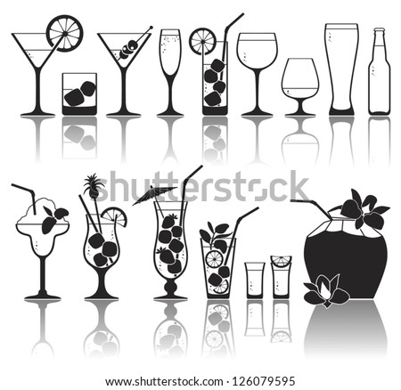 Different kinds of glasses with aperitifs, juice, cocktails, decorated by fruit, mint and colors - stock vector