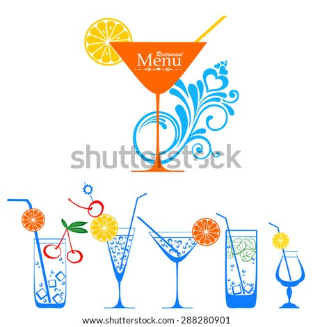 Different kinds of glasses with aperitifs, juice, cocktails, decorated by fruit, mint and colors. Cocktail Collection Isolated on White Background. Vector illustrations. - stock vector