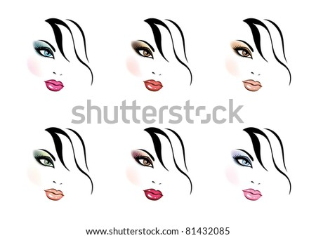 different kinds of makeup - stock vector