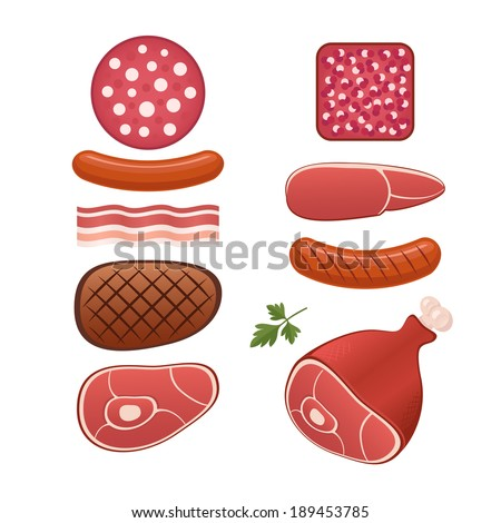 Different kinds of meat, sausages, bacon and tasty ham - stock vector