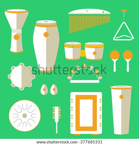 different kinds of percussion on a colored background - stock vector