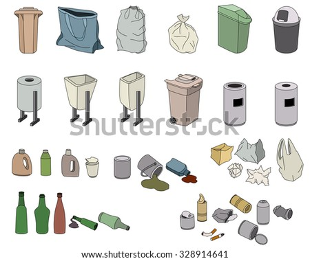 Different kinds of waste and various rabbish bins isolated on white - stock vector