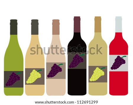 Different Kinds of Wine Bottles - stock vector