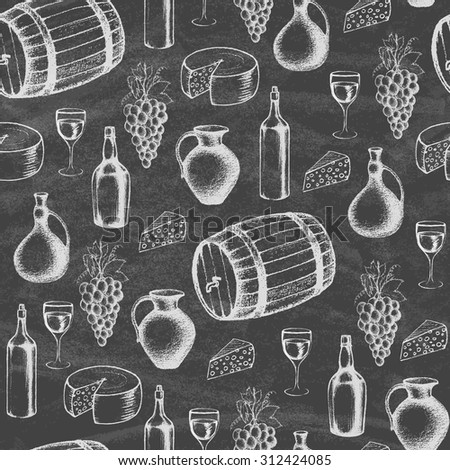 Different kinds of wine bottles without labels. Collection of hand-drawn bottles and food on the blackboard. Retro vintage style food design. Seamless pattern. Vector illustration. - stock vector
