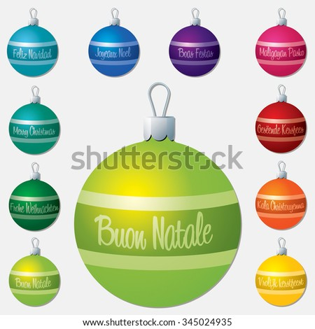 Different language Merry Christmas bauble set in vector format. - stock vector