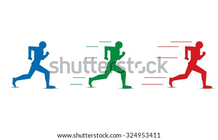 different levels of human running speed - stock vector