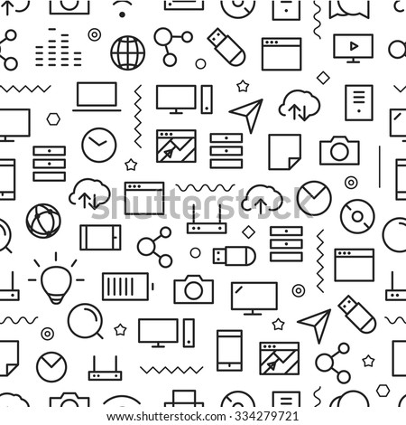 Different line style icons seamless pattern. Technology - stock vector