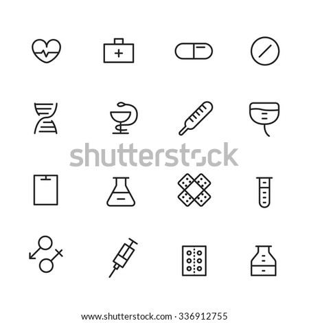 Different line style icons set, medicin. - stock vector