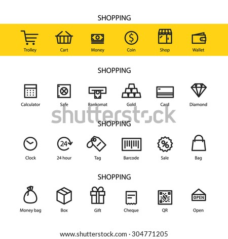 Different line style icons set. Shopping - stock vector