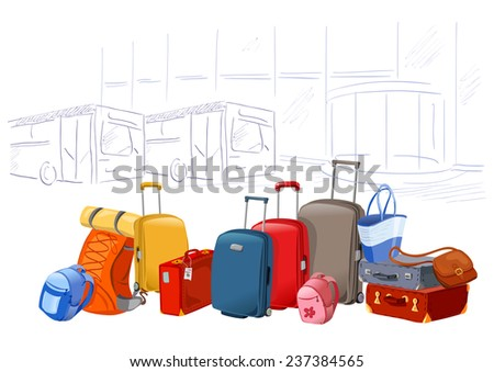 different luggage on the background of the airport. vector illustration - stock vector