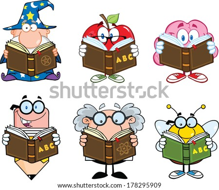Different Mascots Reading A Book Cartoon Characters. Set Vector Collection - stock vector
