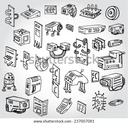 Different Mechanism, Robots and Other Tech Stuff - stock vector