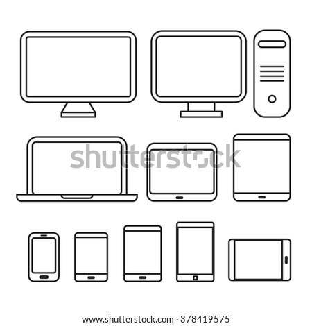 Different media devices collection. Lineart design silhouettes - stock vector