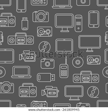 Different media devices seamless pattern - stock vector