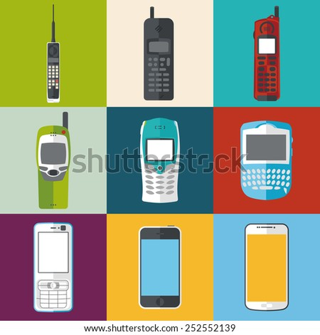 different mobile phones and smartphones icon set. flat style vector illustration - stock vector
