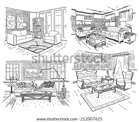 Different modern house interiors vector drawings set on white background - stock vector