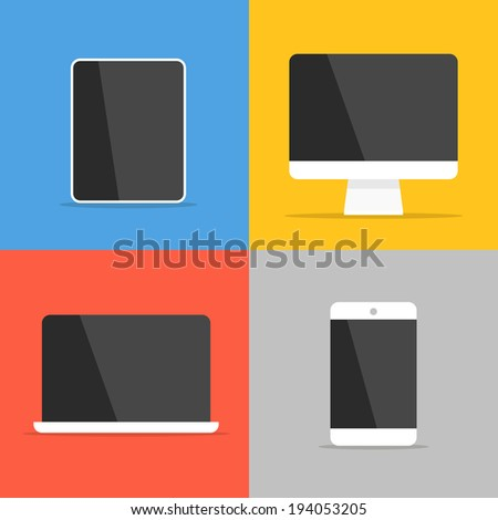 Different modern personal gadgets. Flat design - stock vector
