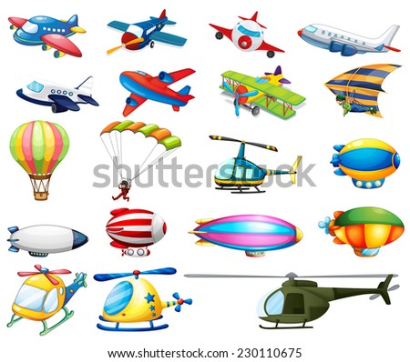 Different modes of air transportation - stock vector