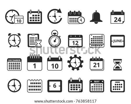Different Monochrome Symbols Time Management Vector Stock Photo