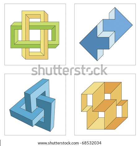 different multicolored optical illusions of unreal geometrical objects vector - stock vector