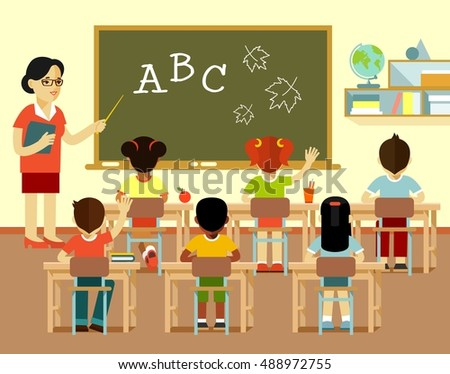 Different multicultural school children group and young teacher woman at class lesson in flat style isolated on white background